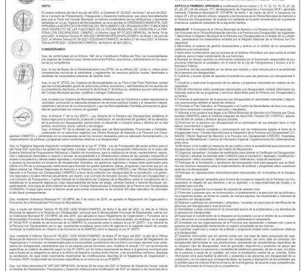 Municipalidad Provincial de Moyobamba: Ordenanza Municipal Nº 483-MPM y Nº484-MPM