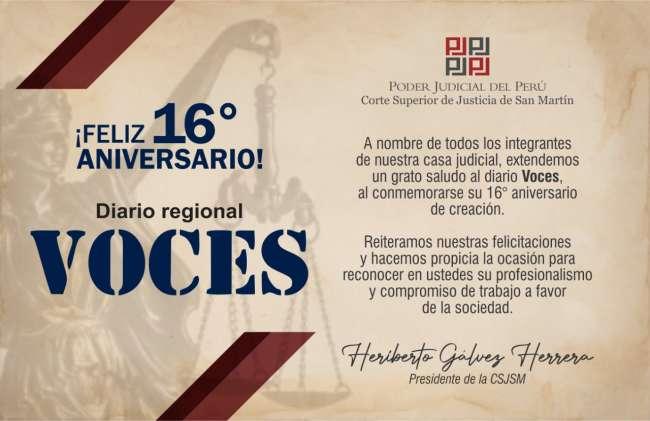 Poder Judicial del Perú:  Saludo Feliz 16º Aniversario Diario Voces