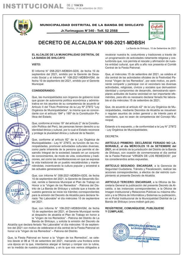 Municipalidad Distrital de La Banda de Shilcayo: Decreto de Alcaldia Nº 008-2021-MDBSH