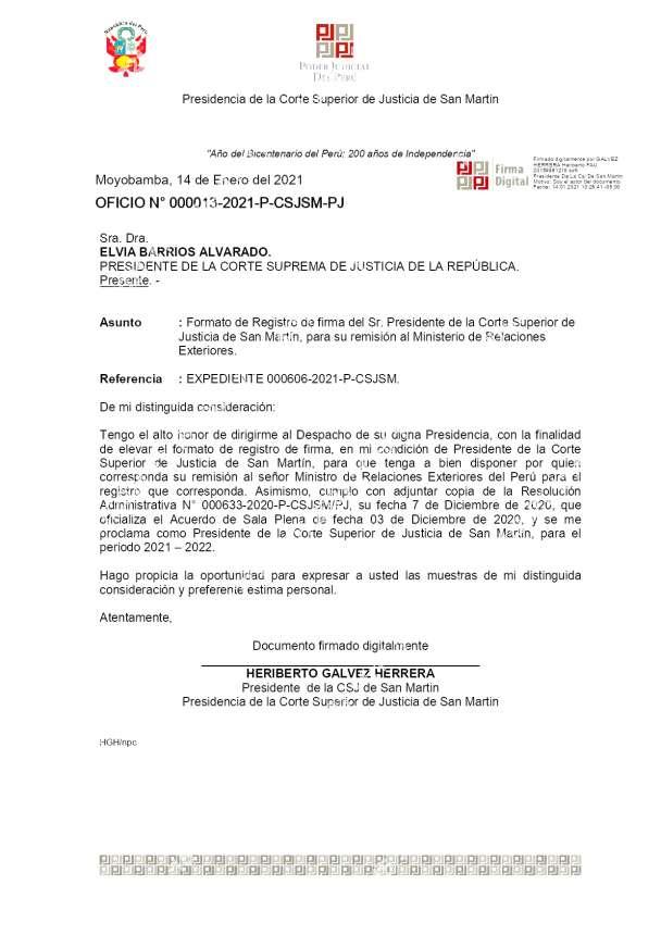 Registro de firma del Presidente de la Corte de San Martín ante el Ministerio de Relaciones Exteriores