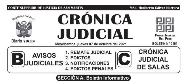 DIARIO VOCES – DIARIO JUDICIAL DEL DISTRITO JUDICIAL DE SAN MARTIN 07-10-21