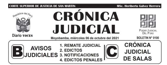 DIARIO VOCES – DIARIO JUDICIAL DEL DISTRITO JUDICIAL DE SAN MARTIN 06-10-21