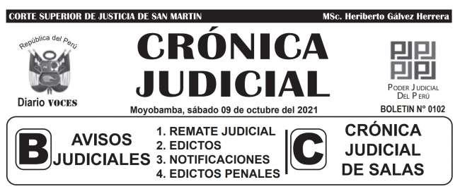 DIARIO VOCES – DIARIO JUDICIAL DEL DISTRITO JUDICIAL DE SAN MARTIN 09-10-21