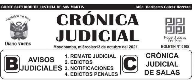 DIARIO VOCES – DIARIO JUDICIAL DEL DISTRITO JUDICIAL DE SAN MARTIN 13-10-21