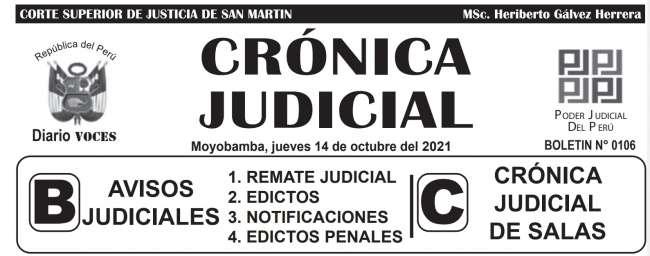 DIARIO VOCES – DIARIO JUDICIAL DEL DISTRITO JUDICIAL DE SAN MARTIN 14-10-21