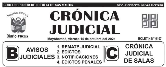 DIARIO VOCES – DIARIO JUDICIAL DEL DISTRITO JUDICIAL DE SAN MARTIN 15-10-21