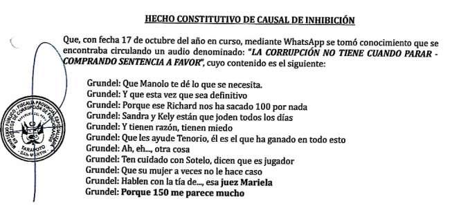 POR PRESUNTOS AUDIOS DE CORRUPCIÓN: JUEZA SE APARTA DE PROCESO CONTRA EXALCALDE WALTER GRUNDEL