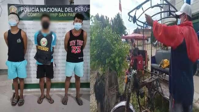 En Bellavista, detienen a presunta banda por robo de trimoviles, entre ellos un menor de edad